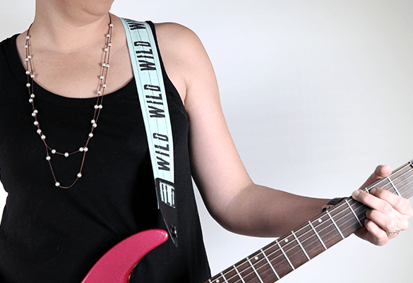 Guitar strap made from 1 yard of Basic Cotton Ultra from the Spoonflower Marketplace.