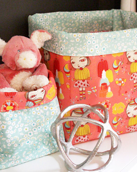 Coral fabric box made from eco canvas with whimsical design