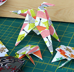 Use Spoonflower       gift wrap for origami